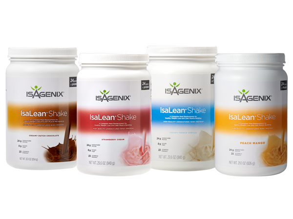 A range of different Isagenix IsaLean Shake flavours