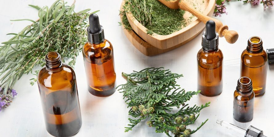 Bottles of essential oils