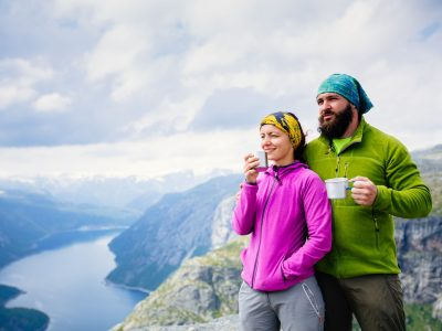 Couple hiking and drinking water